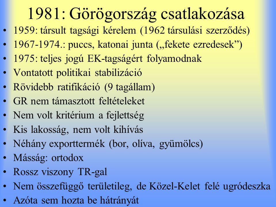 """1981: Görögország csatlakozása 1959: társult tagsági kérelem (1962 társulási szerződés) 1967-1974.: puccs, katonai junta (""""fekete ezredesek"""") 1975: te"""