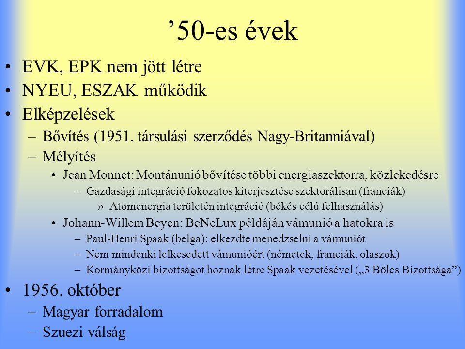 '50-es évek EVK, EPK nem jött létre NYEU, ESZAK működik Elképzelések –Bővítés (1951. társulási szerződés Nagy-Britanniával) –Mélyítés Jean Monnet: Mon