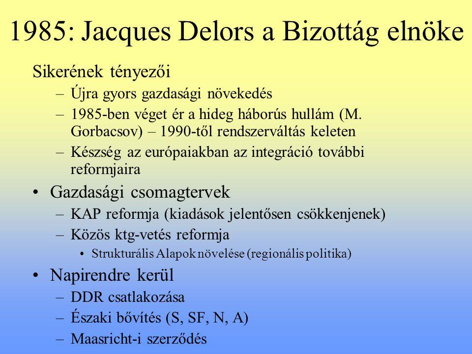1985: Jacques Delors a Bizottág elnöke Sikerének tényezői –Újra gyors gazdasági növekedés –1985-ben véget ér a hideg háborús hullám (M. Gorbacsov) – 1