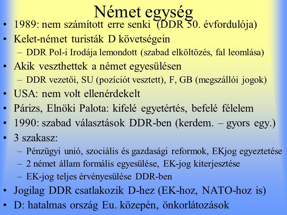 Német egység 1989: nem számított erre senki (DDR 50. évfordulója) Kelet-német turisták D követségein –DDR Pol-i Irodája lemondott (szabad elköltözés,