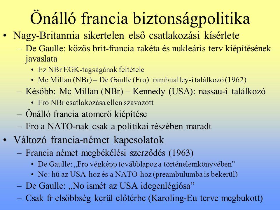 Önálló francia biztonságpolitika Nagy-Britannia sikertelen első csatlakozási kísérlete –De Gaulle: közös brit-francia rakéta és nukleáris terv kiépíté