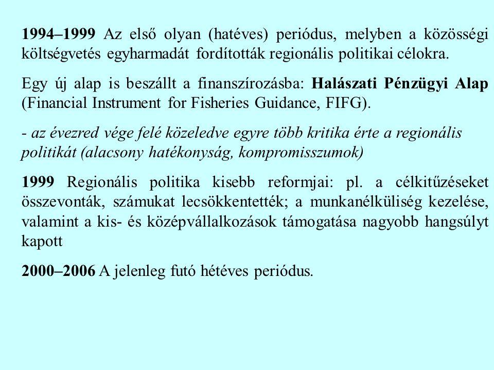 1994–1999 Az első olyan (hatéves) periódus, melyben a közösségi költségvetés egyharmadát fordították regionális politikai célokra.