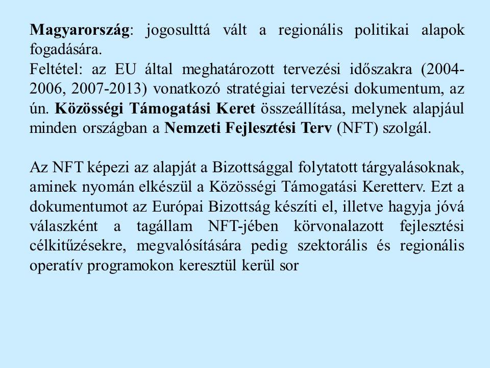 Magyarország: jogosulttá vált a regionális politikai alapok fogadására.