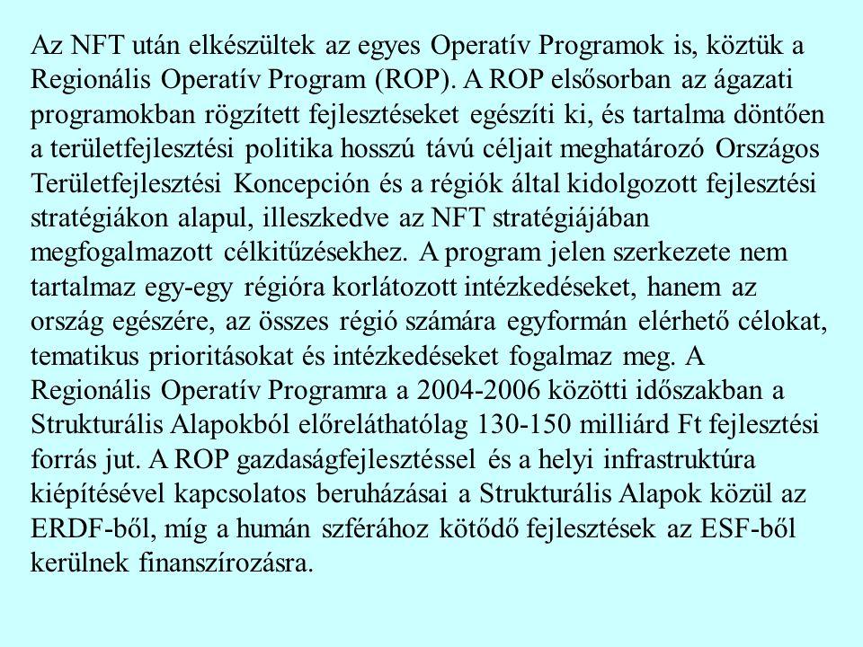 Az NFT után elkészültek az egyes Operatív Programok is, köztük a Regionális Operatív Program (ROP).