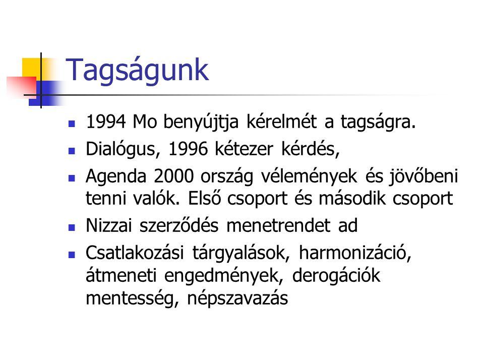 Tagságunk 1994 Mo benyújtja kérelmét a tagságra. Dialógus, 1996 kétezer kérdés, Agenda 2000 ország vélemények és jövőbeni tenni valók. Első csoport és