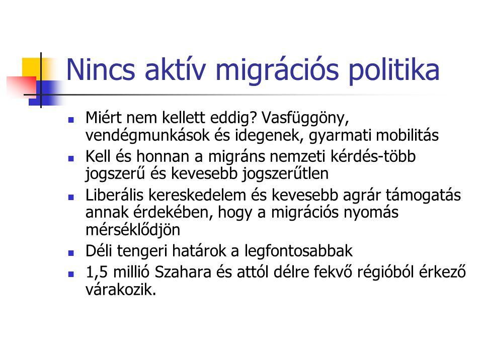 Nincs aktív migrációs politika Miért nem kellett eddig? Vasfüggöny, vendégmunkások és idegenek, gyarmati mobilitás Kell és honnan a migráns nemzeti ké