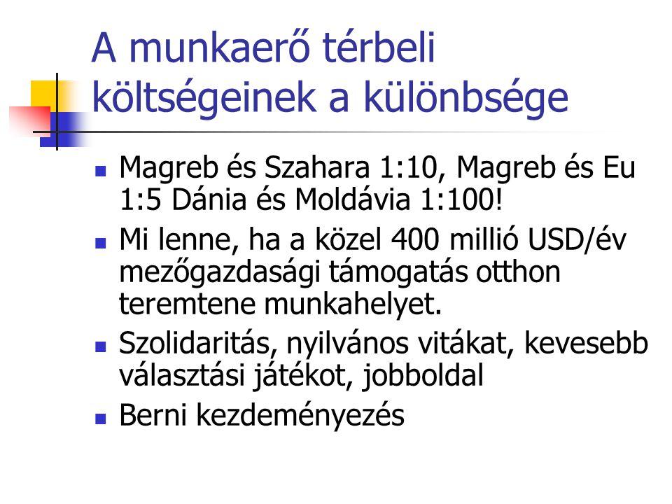 A munkaerő térbeli költségeinek a különbsége Magreb és Szahara 1:10, Magreb és Eu 1:5 Dánia és Moldávia 1:100! Mi lenne, ha a közel 400 millió USD/év