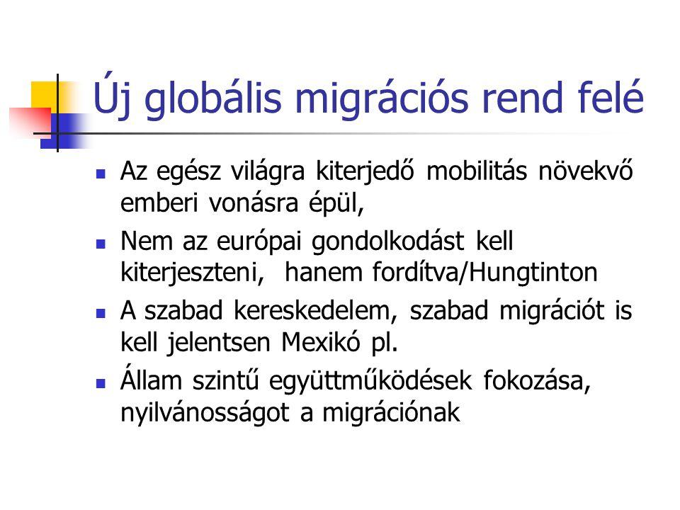 Új globális migrációs rend felé Az egész világra kiterjedő mobilitás növekvő emberi vonásra épül, Nem az európai gondolkodást kell kiterjeszteni, hane