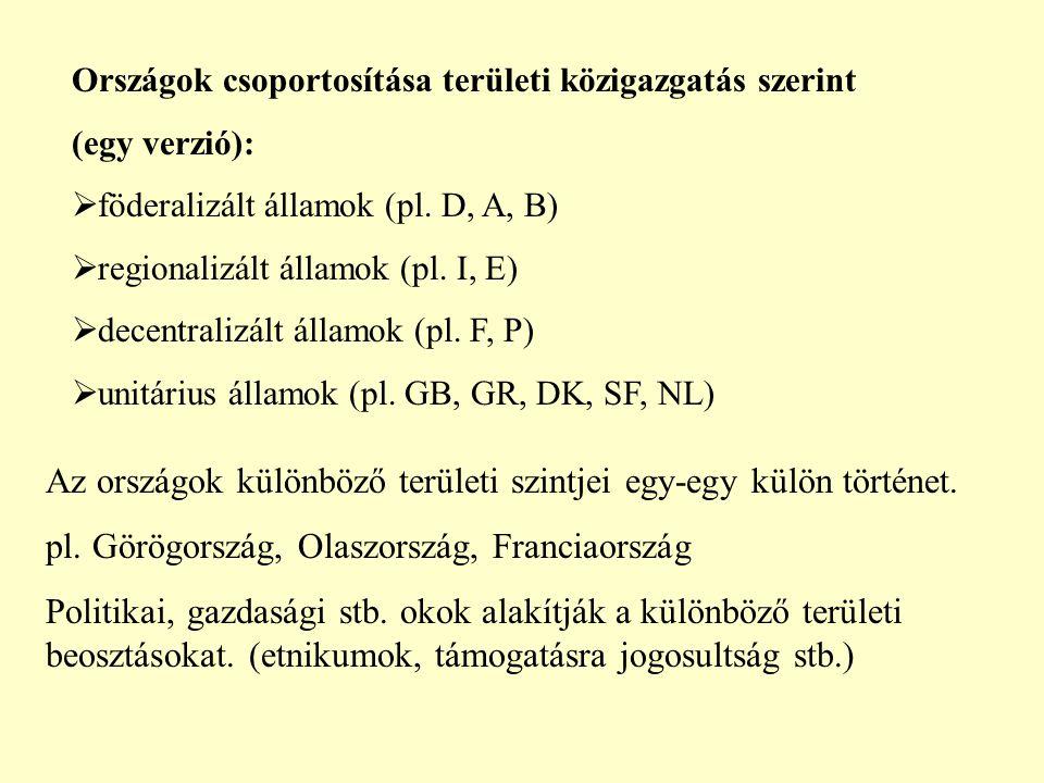 Országok csoportosítása területi közigazgatás szerint (egy verzió):  föderalizált államok (pl. D, A, B)  regionalizált államok (pl. I, E)  decentra