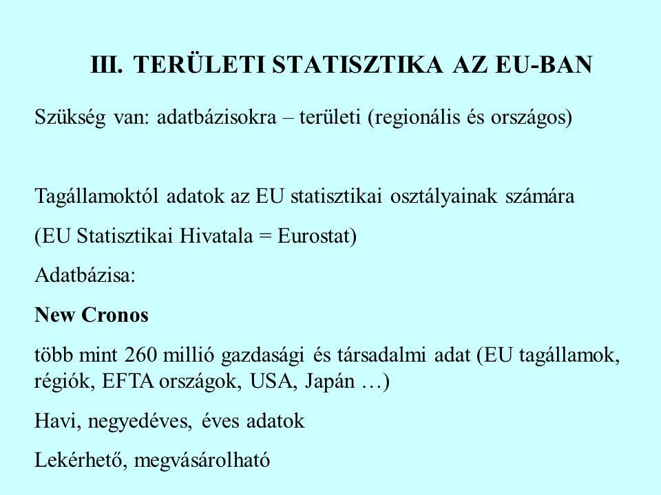 Szükség van: adatbázisokra – területi (regionális és országos) Tagállamoktól adatok az EU statisztikai osztályainak számára (EU Statisztikai Hivatala = Eurostat) Adatbázisa: New Cronos több mint 260 millió gazdasági és társadalmi adat (EU tagállamok, régiók, EFTA országok, USA, Japán …) Havi, negyedéves, éves adatok Lekérhető, megvásárolható III.