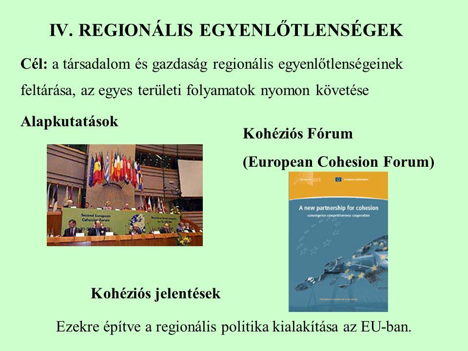 Kohéziós jelentések Cél: a társadalom és gazdaság regionális egyenlőtlenségeinek feltárása, az egyes területi folyamatok nyomon követése Alapkutatások Kohéziós Fórum (European Cohesion Forum) Ezekre építve a regionális politika kialakítása az EU-ban.