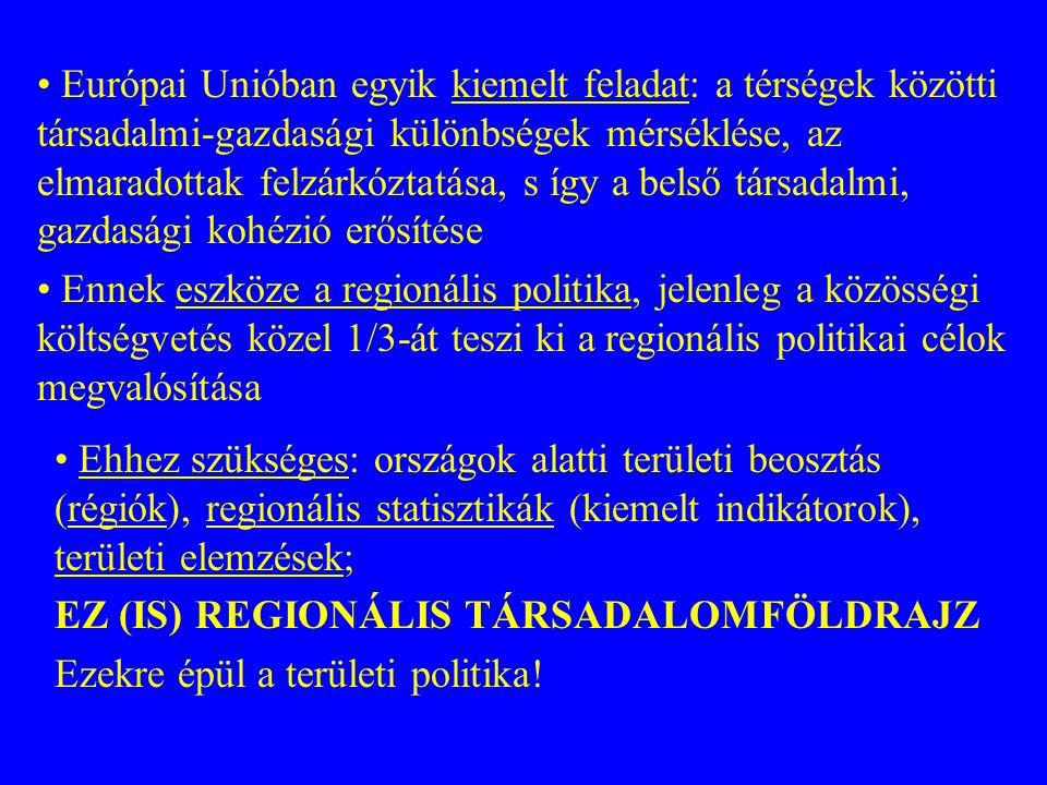 19951996199719981999 Litvánia29,029,234,842,553,5 Lengyelország39,342,142,945,850,9 Egyesült Királyság49,348,649,351,050,1 Magyarország40,542,743,843,946,0 Észtország39,339,843,446,145,2 Németország42,342,542,943,644,0 Franciaország41,241,7 42,0 41,3 Csehország31,029,533,038,240,7 Belgium38,439,439,239,639,5 Portugália36,636,835,937,137,3 Szlovákia37,9 40,539,137,3 Bulgária33,233,025,426,633,3 Olaszország29,7 29,329,529,2 Dánia27,826,426,727,727,6 Ausztria29,328,928,227,527,4 Finnország21,623,322,125,025,7 Románia20,522,323,824,7 Lettország13,013,115,019,723,8 Írország20,721,523,823,623,7 Spanyolország22,222,423,023,523,7 Hollandia20,421,522,022,522,4 Görögország23,325,022,622,222,0 Szlovénia19,419,219,4 20,4 Svédország13,014,116,117,016,5 Az egy főre jutó GDP regionális (NUTS 3) egyenlőtlenségeinek változása (súlyozott relatív szórás) Forrás: EC 2002