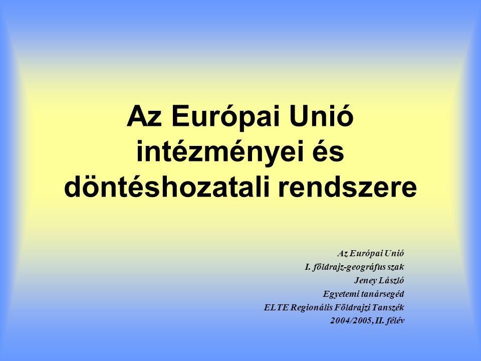 Az EU intézményrendszere egyedülálló képződmény a nemzetközi jogban Nem hagyományos nemzetközi szervezet Nem állam Nem tisztán kormányközi szervezet Nem tisztán nemzetek feletti föderáció