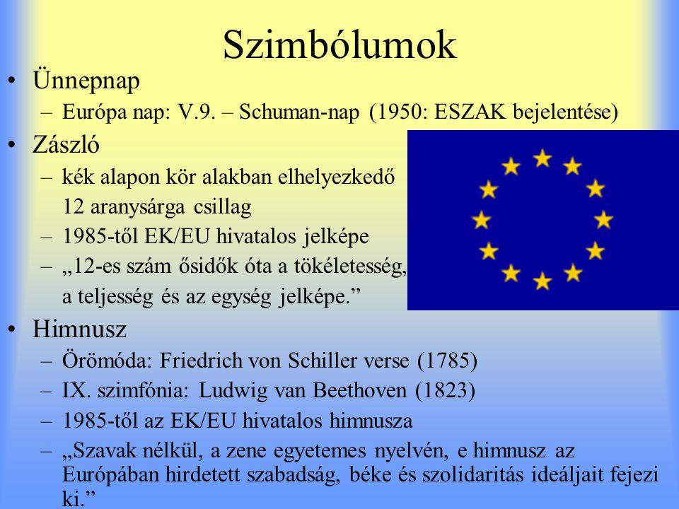 Szimbólumok Ünnepnap –Európa nap: V.9.