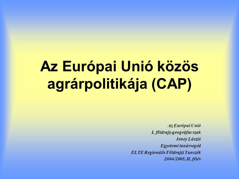 EU tárgyalási álláspont Kvóták bázisa egy meghatározott időszak termelési szintje (1995-1999) Átmeneti szabályozás kivételes esetekben CAP átvétele és alkalmazási feltételeinek megteremtése a csatlakozásig –Felkészülési ütemterv –Folyamatos monitoring az EU részéről Átmeneti szabályozás, de hosszú távon egységes CAP Olcsó, a 15-öknek előnyös bővítés legyen Költségvetési egyensúly fenntartása Blokk szemlélet tagországi érdekek helyett
