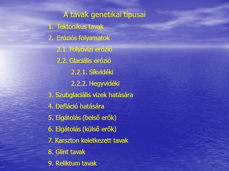 A tavak genetikai típusai 1.Tektonikus tavak 2.Eróziós folyamatok 2.1.