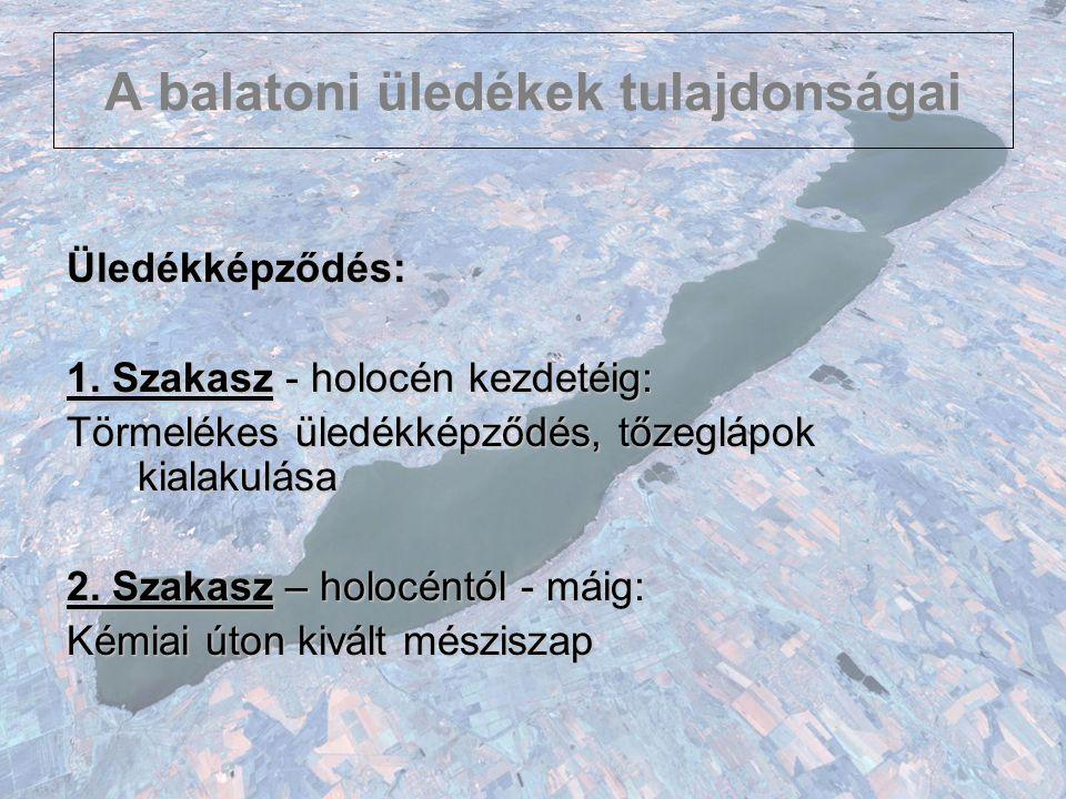 A balatoni üledékek tulajdonságai Üledékképződés: 1. Szakasz - holocén kezdetéig: Törmelékes üledékképződés, tőzeglápok kialakulása 2. Szakasz – holoc
