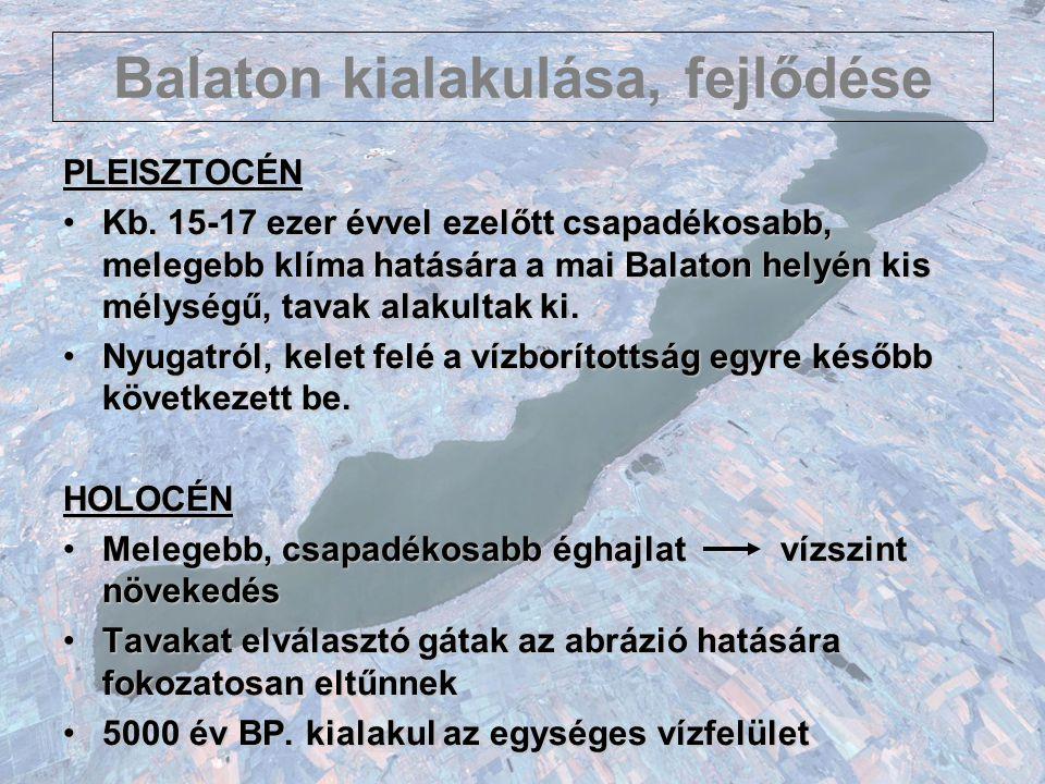 Balaton kialakulása, fejlődése NYUGATI RÉSZ 1.Felszíni vízgyűjtője nagyobb 2.Felszínalatti vízutánpótlás a Keszthelyi-hegység felől jelentősebb 3.Vízgyűjtőn a csapadékosabb atlanti klímahatás érvényesült 4.Szélesebb, lapályosabb környezet vette körül (Ki- Balaton, Nagy-Berek, Tapolcai-medence) KELETI RÉSZ 1.Kisebb vízgyűjtő 2.Balaton-felvidék felől minimális felszínalatti vízutánpótlás 3.Vízgyűjtőn melegebb, szárazabb kontinentális hatás 4.Magasabb morfológiai helyzetben lévő területek között volt