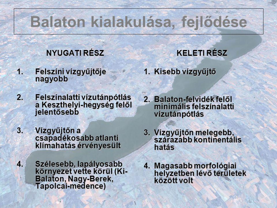 Balaton kialakulása, fejlődése NYUGATI RÉSZ 1.Felszíni vízgyűjtője nagyobb 2.Felszínalatti vízutánpótlás a Keszthelyi-hegység felől jelentősebb 3.Vízg
