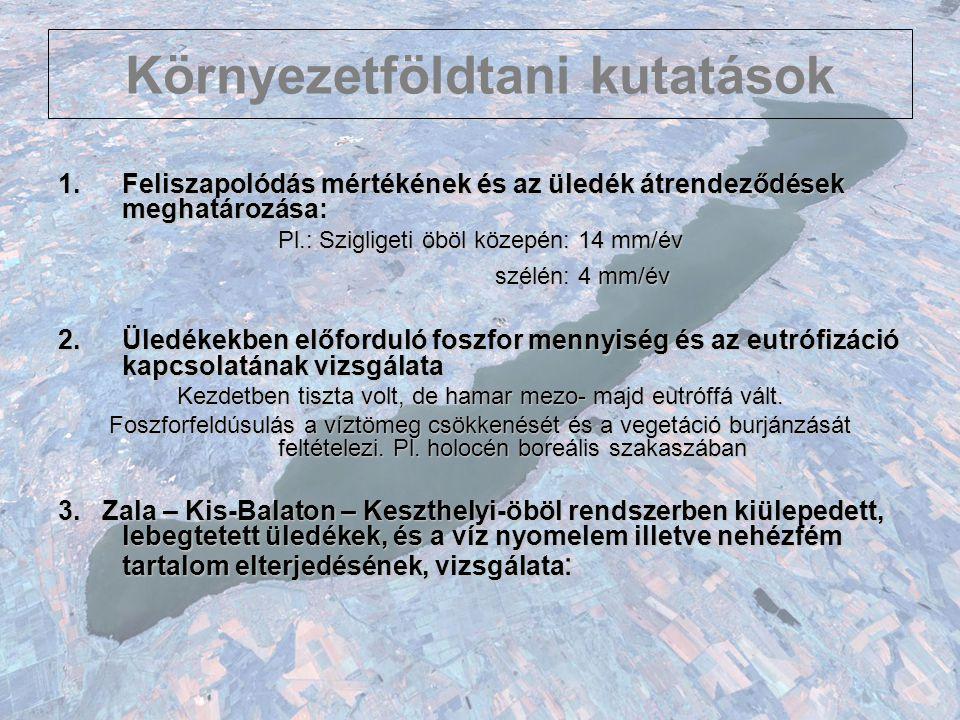 Környezetföldtani kutatások 1.Feliszapolódás mértékének és az üledék átrendeződések meghatározása: Pl.: Szigligeti öböl közepén: 14 mm/év szélén: 4 mm