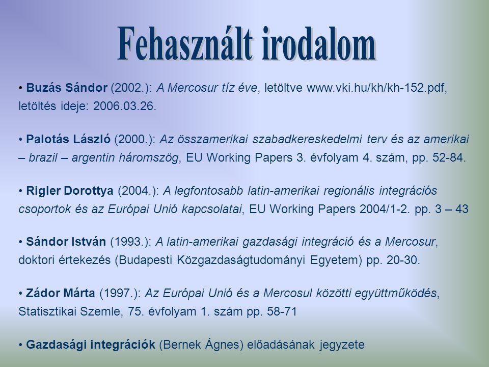 Buzás Sándor (2002.): A Mercosur tíz éve, letöltve www.vki.hu/kh/kh-152.pdf, letöltés ideje: 2006.03.26.