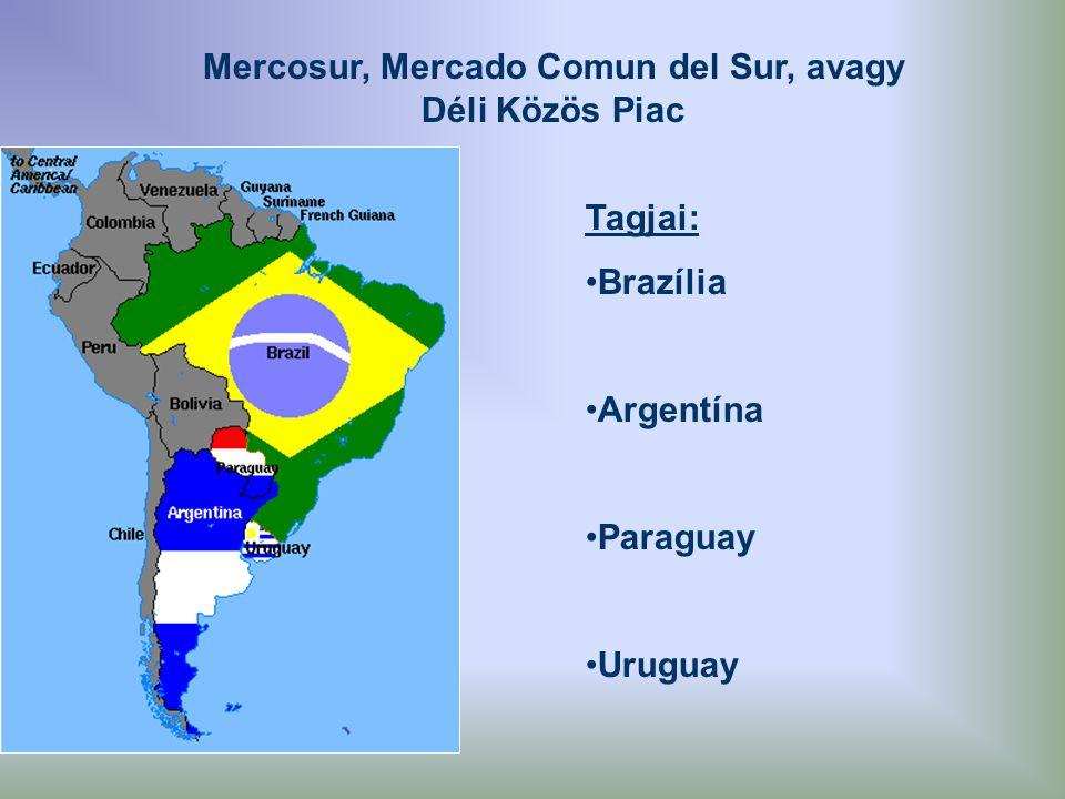 Mercosur, Mercado Comun del Sur, avagy Déli Közös Piac Tagjai: Brazília Argentína Paraguay Uruguay