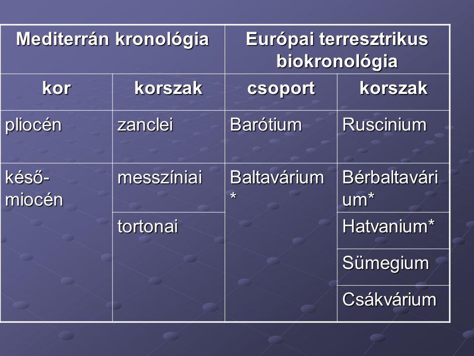 Mediterrán kronológia Európai terresztrikus biokronológia korkorszakcsoportkorszak pliocénzancleiBarótiumRuscinium késő- miocén messzíniai Baltavárium