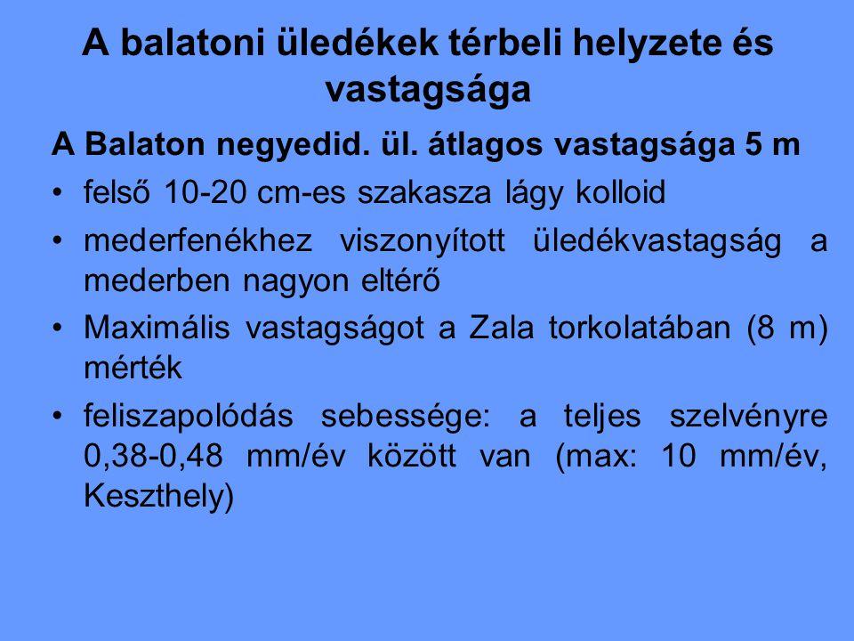 A balatoni üledékek térbeli helyzete és vastagsága A Balaton negyedid. ül. átlagos vastagsága 5 m felső 10-20 cm-es szakasza lágy kolloid mederfenékhe