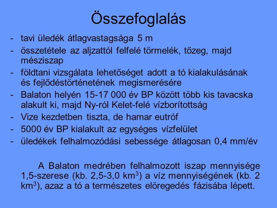 Összefoglalás -tavi üledék átlagvastagsága 5 m -összetétele az aljzattól felfelé törmelék, tőzeg, majd mésziszap -földtani vizsgálata lehetőséget adott a tó kialakulásának és fejlődéstörténetének megismerésére -Balaton helyén 15-17 000 év BP között több kis tavacska alakult ki, majd Ny-ról Kelet-felé vízborítottság -Vize kezdetben tiszta, de hamar eutróf -5000 év BP kialakult az egységes vízfelület -üledékek felhalmozódási sebessége átlagosan 0,4 mm/év A Balaton medrében felhalmozott iszap mennyisége 1,5-szerese (kb.
