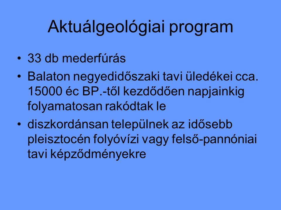 Aktuálgeológiai program 33 db mederfúrás Balaton negyedidőszaki tavi üledékei cca.