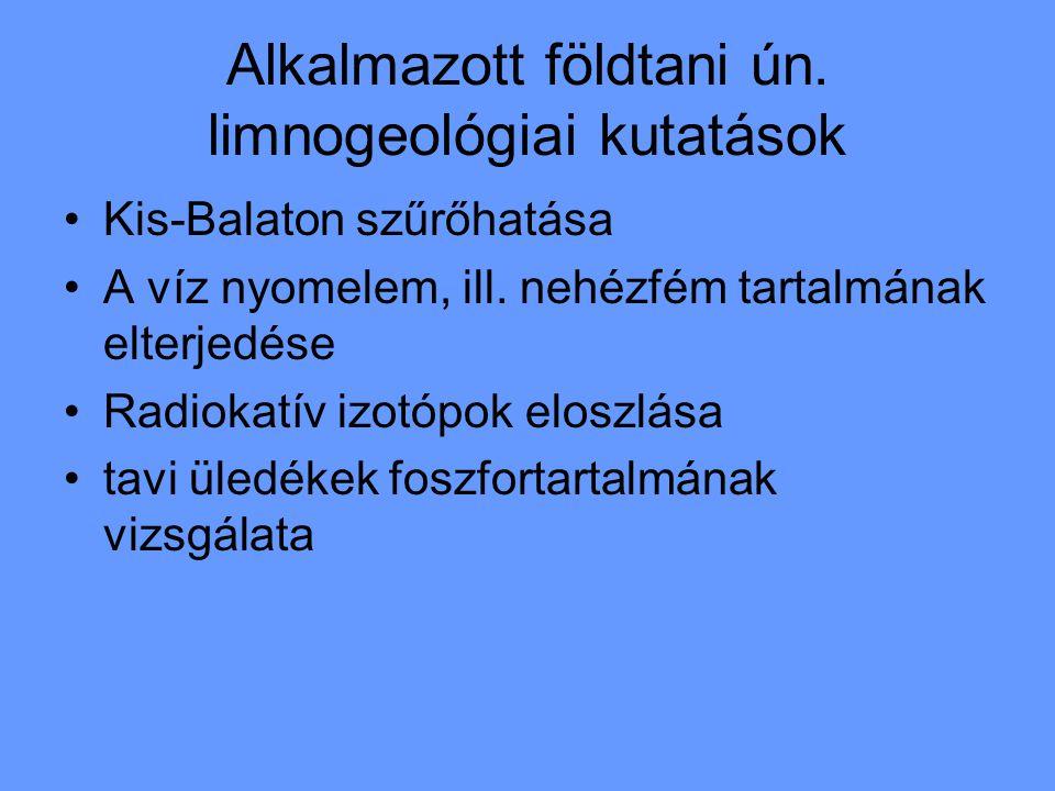 Alkalmazott földtani ún. limnogeológiai kutatások Kis-Balaton szűrőhatása A víz nyomelem, ill. nehézfém tartalmának elterjedése Radiokatív izotópok el