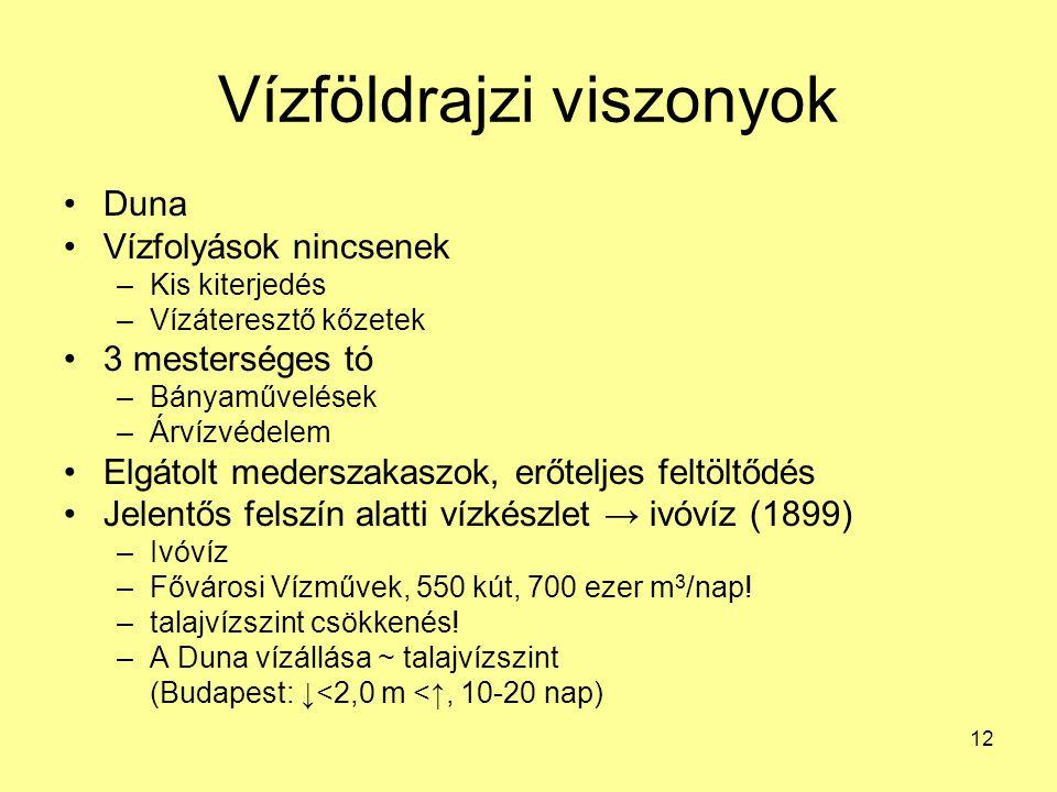 12 Vízföldrajzi viszonyok Duna Vízfolyások nincsenek –Kis kiterjedés –Vízáteresztő kőzetek 3 mesterséges tó –Bányaművelések –Árvízvédelem Elgátolt med