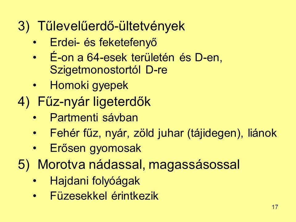 17 3)Tűlevelűerdő-ültetvények Erdei- és feketefenyő É-on a 64-esek területén és D-en, Szigetmonostortól D-re Homoki gyepek 4)Fűz-nyár ligeterdők Partm