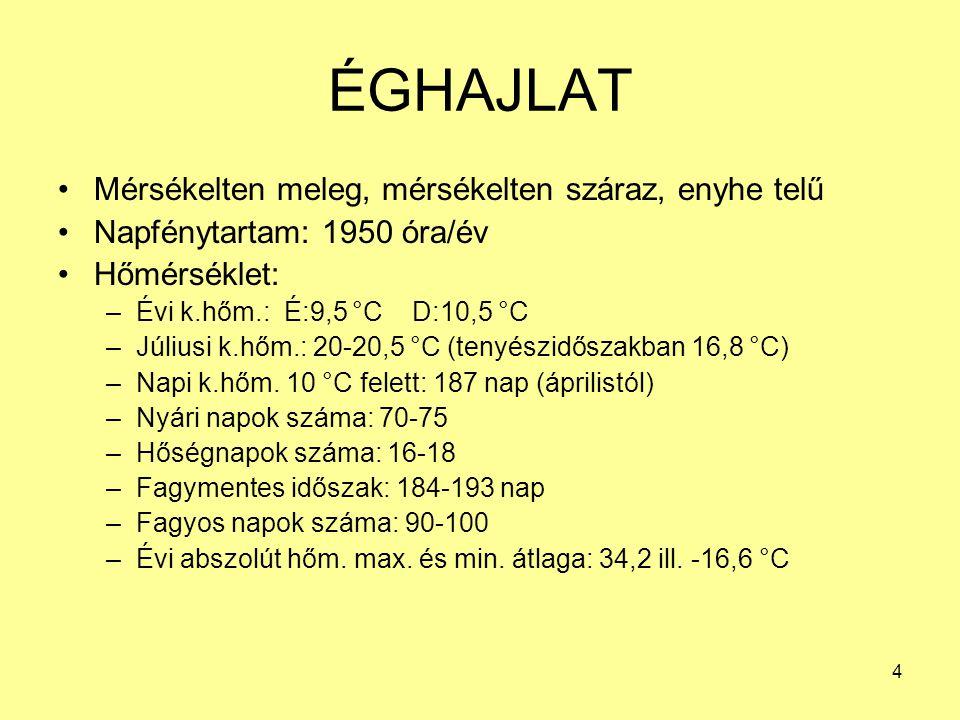 4 ÉGHAJLAT Mérsékelten meleg, mérsékelten száraz, enyhe telű Napfénytartam: 1950 óra/év Hőmérséklet: –Évi k.hőm.: É:9,5 °C D:10,5 °C –Júliusi k.hőm.: