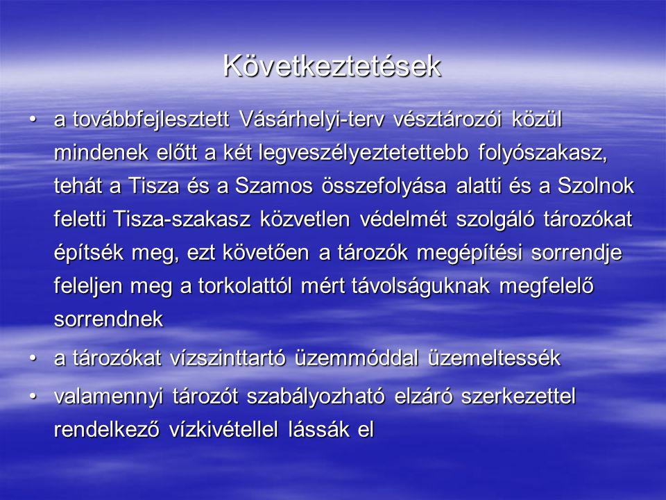 Következtetések a továbbfejlesztett Vásárhelyi-terv vésztározói közül mindenek előtt a két legveszélyeztetettebb folyószakasz, tehát a Tisza és a Szamos összefolyása alatti és a Szolnok feletti Tisza-szakasz közvetlen védelmét szolgáló tározókat építsék meg, ezt követően a tározók megépítési sorrendje feleljen meg a torkolattól mért távolságuknak megfelelő sorrendneka továbbfejlesztett Vásárhelyi-terv vésztározói közül mindenek előtt a két legveszélyeztetettebb folyószakasz, tehát a Tisza és a Szamos összefolyása alatti és a Szolnok feletti Tisza-szakasz közvetlen védelmét szolgáló tározókat építsék meg, ezt követően a tározók megépítési sorrendje feleljen meg a torkolattól mért távolságuknak megfelelő sorrendnek a tározókat vízszinttartó üzemmóddal üzemeltesséka tározókat vízszinttartó üzemmóddal üzemeltessék valamennyi tározót szabályozható elzáró szerkezettel rendelkező vízkivétellel lássák elvalamennyi tározót szabályozható elzáró szerkezettel rendelkező vízkivétellel lássák el