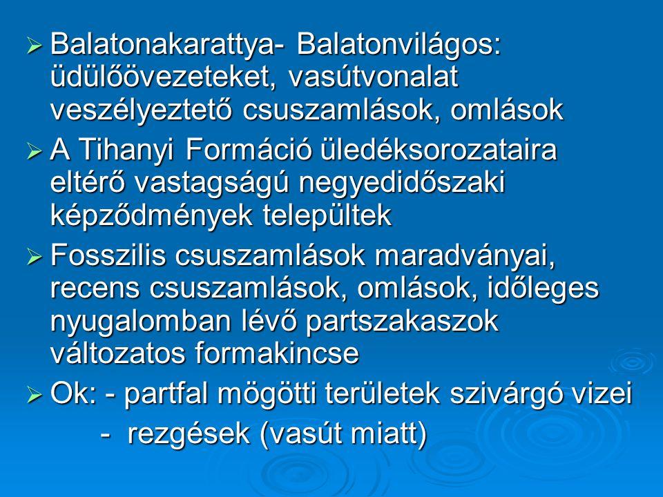  Balatonakarattya- Balatonvilágos: üdülőövezeteket, vasútvonalat veszélyeztető csuszamlások, omlások  A Tihanyi Formáció üledéksorozataira eltérő va