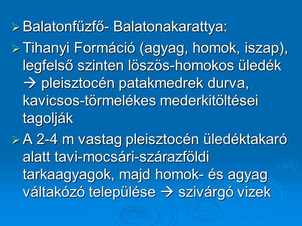  Balatonfűzfő- Balatonakarattya:  Tihanyi Formáció (agyag, homok, iszap), legfelső szinten löszös-homokos üledék  pleisztocén patakmedrek durva, ka
