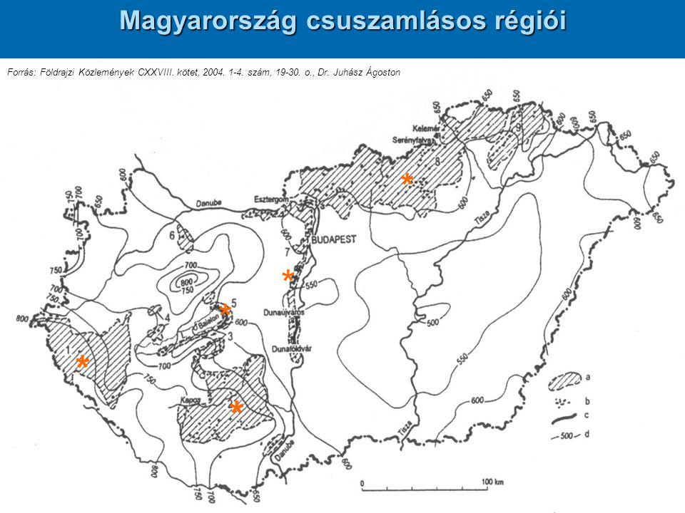 Magyarország csuszamlásos régiói Forrás: Földrajzi Közlemények CXXVIII. kötet, 2004. 1-4. szám, 19-30. o., Dr. Juhász Ágoston * * * * *
