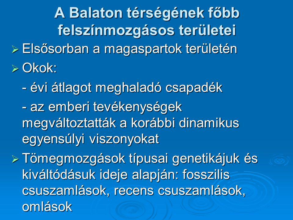 A Balaton térségének főbb felszínmozgásos területei  Elsősorban a magaspartok területén  Okok: - évi átlagot meghaladó csapadék - évi átlagot meghal