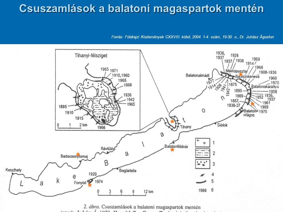 Csuszamlások a balatoni magaspartok mentén Forrás: Földrajzi Közlemények CXXVIII. kötet, 2004. 1-4. szám, 19-30. o., Dr. Juhász Ágoston * * * * * *