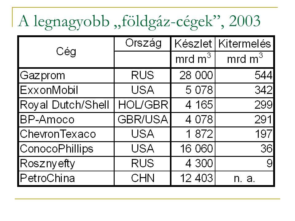 """A legnagyobb """"földgáz-cégek"""", 2003"""