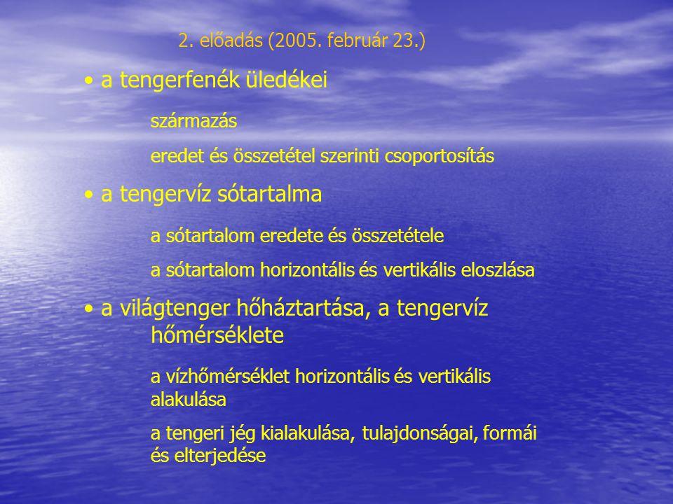 a tengerfenék üledékei származás eredet és összetétel szerinti csoportosítás a tengervíz sótartalma a sótartalom eredete és összetétele a sótartalom h