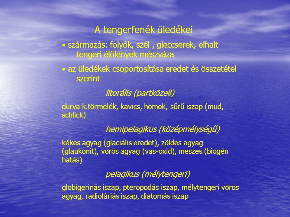 A tengerfenék üledékei származás: folyók, szél, gleccserek, elhalt tengeri élőlények mészváza az üledékek csoportosítása eredet és összetétel szerint