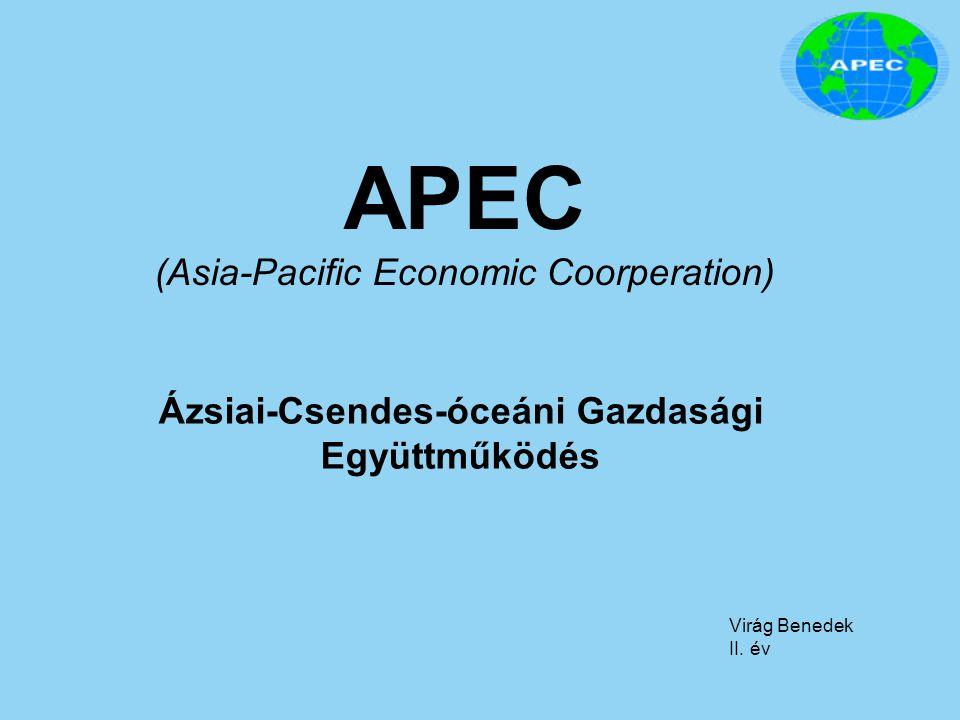 APEC Megalakulás: 1989, Camberra Székhely: Szingapúr Tagország: 21db Alapvető célok: Kereskedelem liberalizációja Tőke áramlások előremozdítása Más integrációk protekcionizmusa elleni közös fellépés
