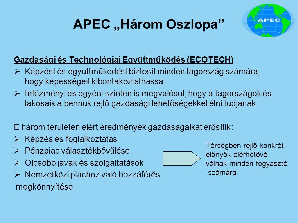 """APEC """"Három Oszlopa"""" Gazdasági és Technológiai Együttműködés (ECOTECH)  Képzést és együttműködést biztosít minden tagország számára, hogy képességeit"""