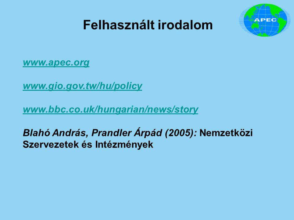 Felhasznált irodalom www.apec.org www.gio.gov.tw/hu/policy www.bbc.co.uk/hungarian/news/story Blahó András, Prandler Árpád (2005): Nemzetközi Szerveze