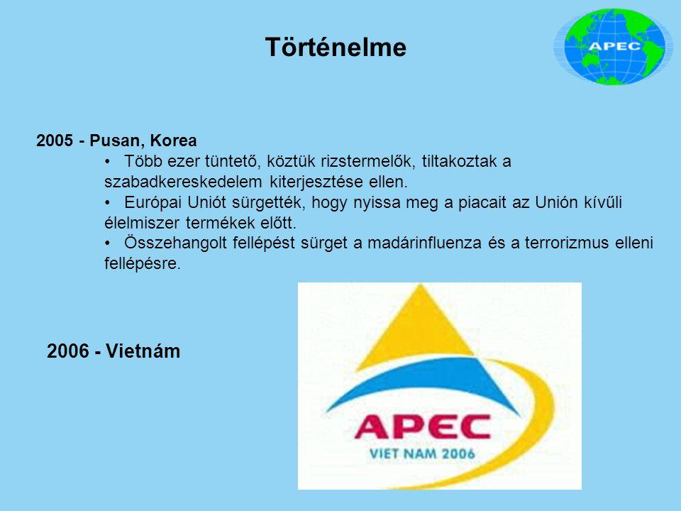 Történelme 2006 - Vietnám 2005 - Pusan, Korea Több ezer tüntető, köztük rizstermelők, tiltakoztak a szabadkereskedelem kiterjesztése ellen. Európai Un