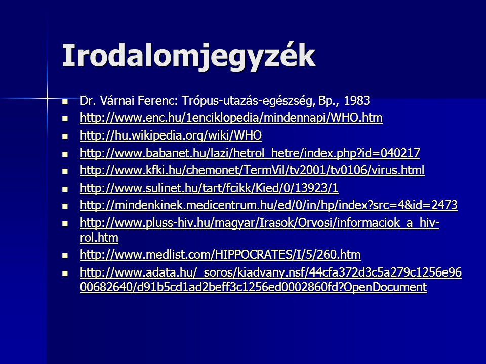 Irodalomjegyzék Dr. Várnai Ferenc: Trópus-utazás-egészség, Bp., 1983 Dr. Várnai Ferenc: Trópus-utazás-egészség, Bp., 1983 http://www.enc.hu/1enciklope