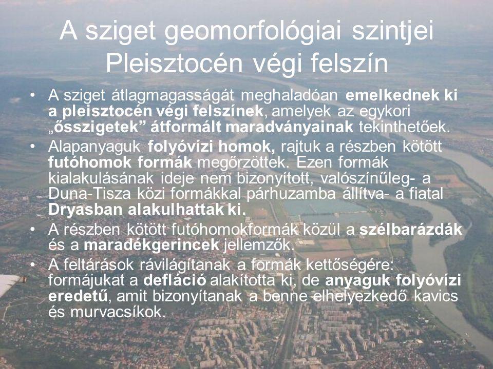 A sziget geomorfológiai szintjei Pleisztocén végi felszín II.