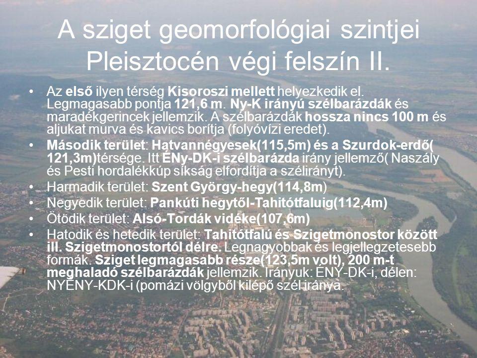 A sziget geomorfológiai szintjei II.